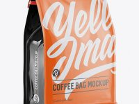 Glossy Coffee Bag w/ a Tin-Tie Mockup - Halfside View