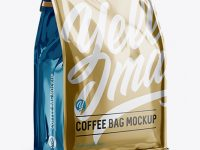 Metallic Coffee Bag w/ a Tin-Tie Mockup - Halfside View