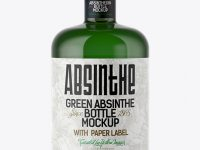 Green Glass Absinthe Bottle Mockup
