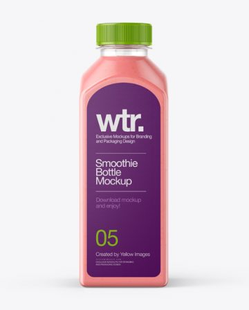 Square Strawberry Smoothie Bottle Mockup - Front View
