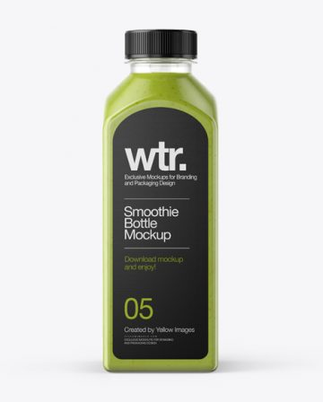 Square Green Smoothie Bottle Mockup - Front View
