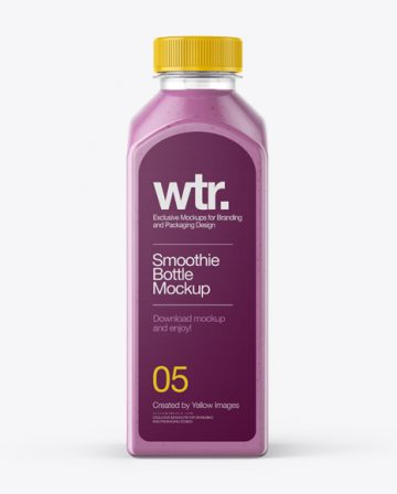 Square Blueberry Smoothie Bottle Mockup - Front View