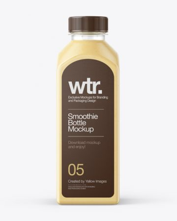 Square Banana Smoothie Bottle Mockup - Front View
