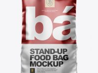 Matte Metallic Stand-up Bag Mockup - Front View