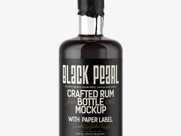 Black Rum Bottle with Wax Top Mockup