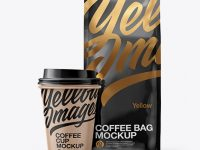 Glossy Bag with Kraft Coffee Cup Mockup - Front View