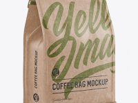 Kraft Paper Coffee Bag w/ a Tin-Tie Mockup - Halfside View