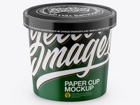 Paper Cup Mockup - Front View (High Angle Shot)
