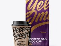 Matte Bag with Kraft Coffee Cup Mockup - Front View