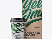Kraft Bag with Coffee Cup Mockup - Front View
