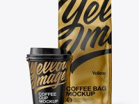 Metallic Bag with Coffee Cup Mockup - Front View