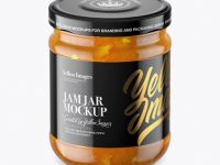 Clear Glass Jar with Orange Jam Mockup (High-Angle Shot)