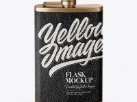 Steel Flask With Leather Wrap Mockup (High-Angle Shot)