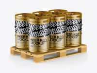 Wooden Pallet With 6 Metallic Beer Kegs Mockup - Half Side View