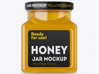Glass Pure Honey Jar Mockup