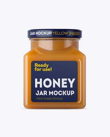 Glass Raw Honey Jar Mockup