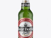 500ml Green Glass Beer Bottle Mockup