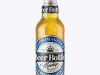 500ml Clear Glass Lager Beer Bottle Mockup
