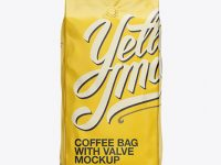 2,5 kg Matte Metallic Coffee Bag With Valve Mockup - Front View