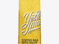 250g Coffee Bag With Valve Mockup - Front View