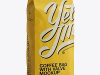2,5 kg Coffee Bag With Valve Mockup - Half-Turned View