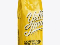 250g Glossy Coffee Bag With Valve Mockup - Half-Turned View