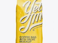 2,5 kg Glossy Coffee Bag With Valve Mockup - Front View