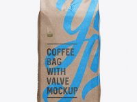 2,5 kg Glossy Kraft Coffee Bag With Valve Mockup - Front View