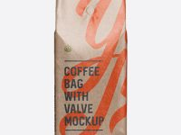 Glossy Kraft Coffee Bag With Valve Mockup - Front View