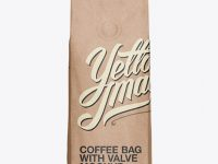 250g Kraft Coffee Bag With Valve Mockup - Front View