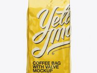 2,5 kg Foil Coffee Bag With Valve Mockup - Front View