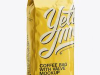 2,5 kg Foil Coffee Bag With Valve Mockup - Half-Turned View
