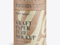 Close Kraft Paper Tube Mockup
