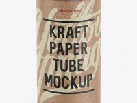 Medium Kraft Paper Tube w/ a Convex Lid and a Paper Label - High-Angle View