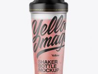 Shaker Bottle with Strawberry Smoothie Mockup