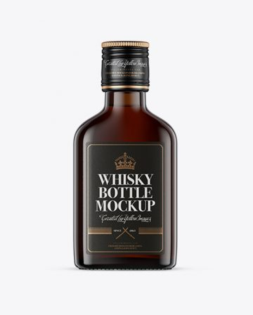 Amber Glass Whiskey Bottle Mockup - Front View