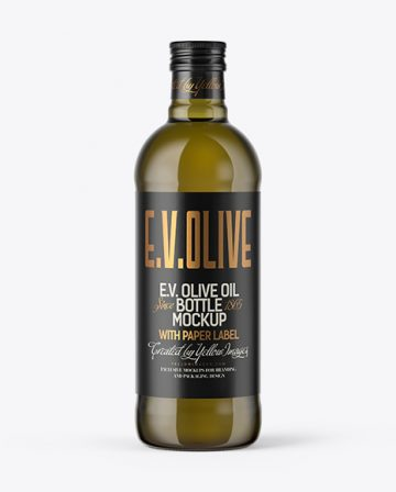 750ml Antique Green Glass Bottle with Olive Oil Mockup