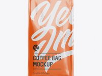 Glossy Paper Coffee Bag Mockup - Front View