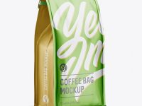 Matte Metallic Coffee Bag w/ a Tin-Tie Mockup - Halfside View