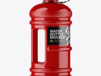 Glossy 2.2l Gym Water Bottle Mockup - Side View