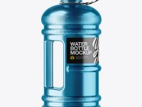 Metallic 2.2l Gym Water Bottle Mockup - Side View