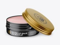 Opened Glossy Lip Balm Tin Mockup - Front View (High-Angle Shot)