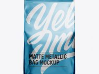 Stitched Matte Metallic Bag Mockup - Front View
