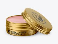 Opened Metallic Lip Balm Tin Mockup - Front View (High-Angle Shot)
