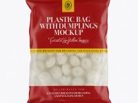 Frosted Plastic Bag With Dumplings & Matte Finish Mockup