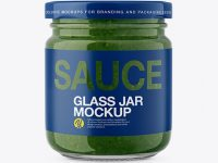 Glass Jar with Pesto Sauce Mockup - Front View