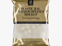 Frosted Plastic Bag With Dumplings & Metallic Finish Mockup
