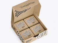 Opened Kraft Paper Box With Chocolates Mockup - Half Side View (High-Angle Shot)