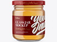 Glass Jar with Honey Mockup - Front View