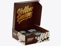 Opened Glossy Paper Box With Chocolates Mockup - Half Side View